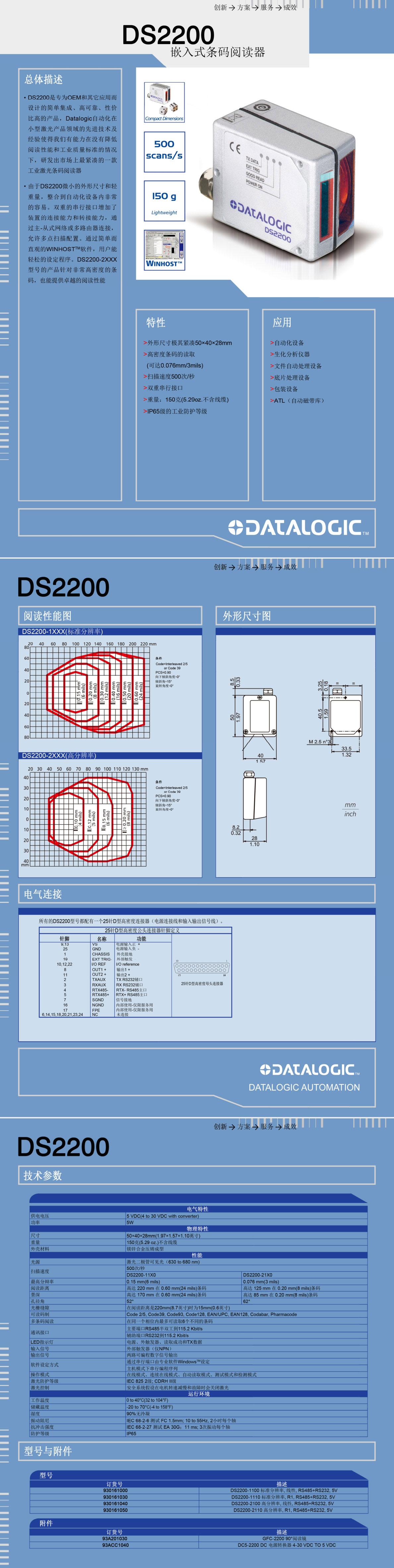 DS2200嵌入式条码阅读器产品