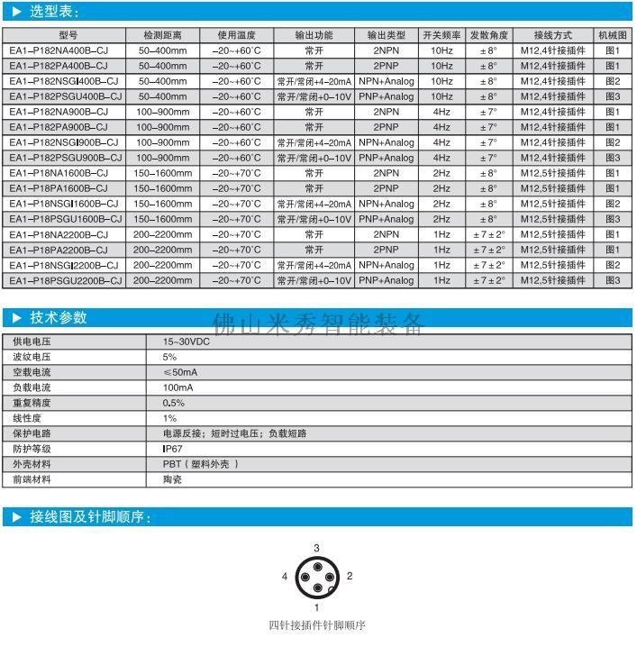 超声波传感器选型、参数